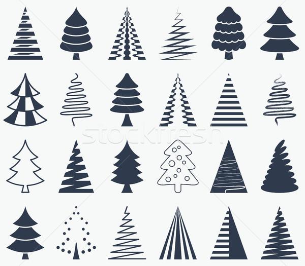 Foto stock: Negro · vector · resumen · árbol · de · navidad · iconos · colección