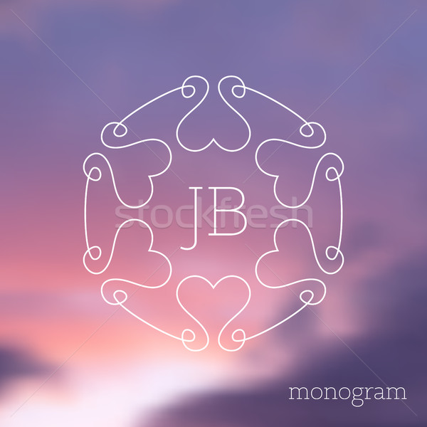 Moderno vetor floral monograma corações Foto stock © blumer1979