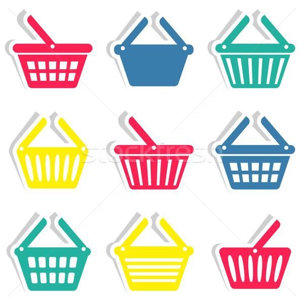 Bevásárlókosár ikonok színes vektor matricák gyűjtemény Stock fotó © blumer1979