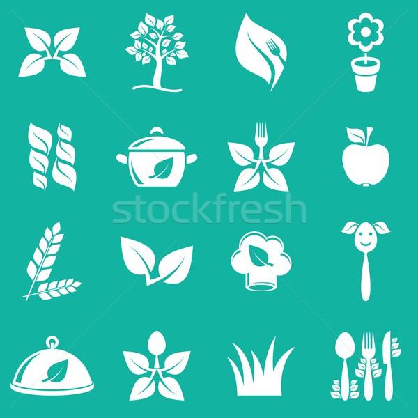Végétarien icônes blanche vecteur nourriture végétarienne vert Photo stock © blumer1979