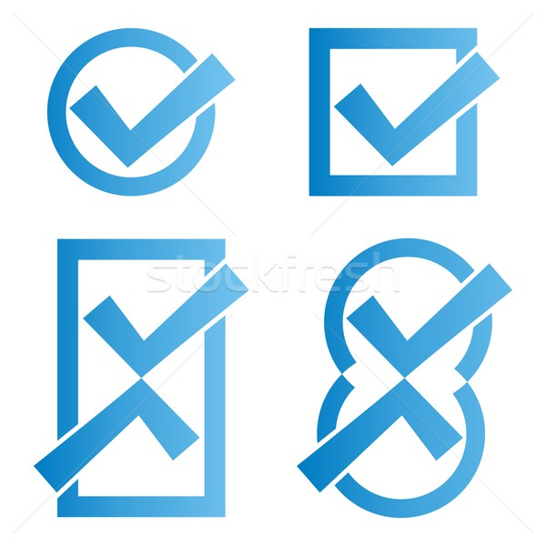 Blue tick icons Stock photo © blumer1979