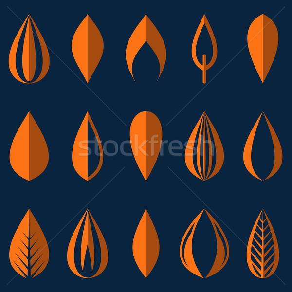 Farklı origami turuncu basit yaprakları yalıtılmış Stok fotoğraf © blumer1979