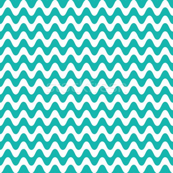 Vector sin costura ondulado línea patrón turquesa Foto stock © blumer1979