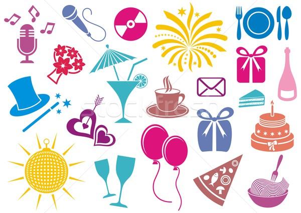 Buli ikonok színes ünneplés ikon vektor Stock fotó © blumer1979