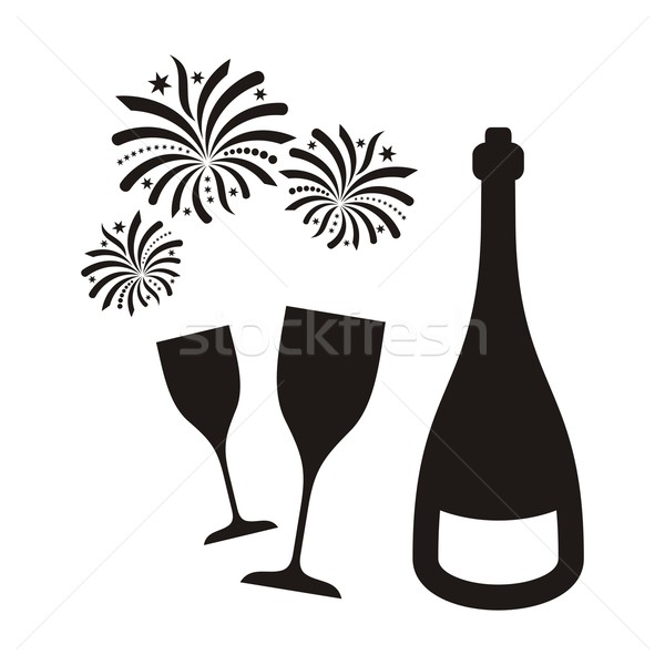 New year fireworks and champagne Stock photo © blumer1979
