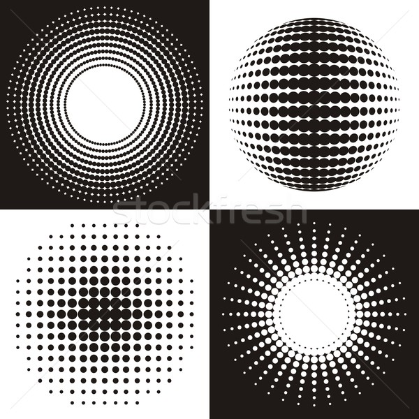 ハーフトーン 黒 ベクトル サークル 抽象的な デザイン ストックフォト © blumer1979