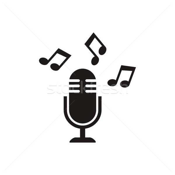 Mikrofon · Symbol · schwarz · Vektor · stellt · fest · isoliert ...