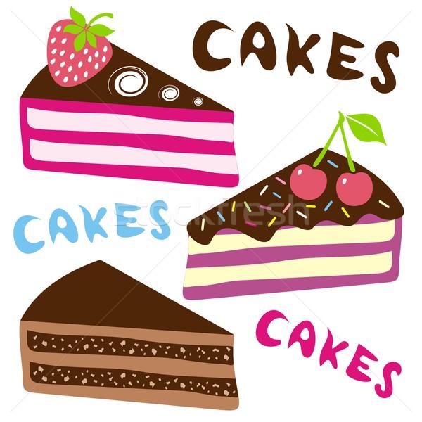 Aniversário bolos três vetor colorido bolo Foto stock © blumer1979