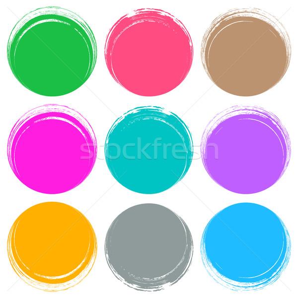 Színes ecsetvonások kör gombok web design gyűjtemény Stock fotó © blumer1979