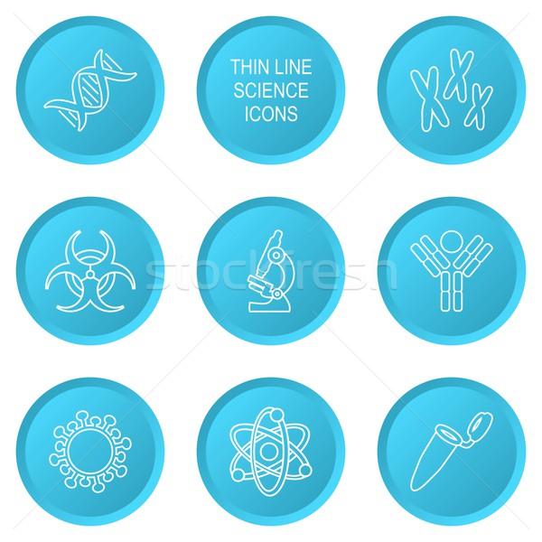 Biologie wetenschap iconen Blauw moderne cirkel Stockfoto © blumer1979