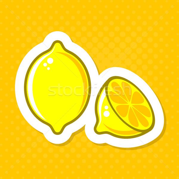Vektor citrom illusztráció címke kreatív halftone Stock fotó © blumer1979
