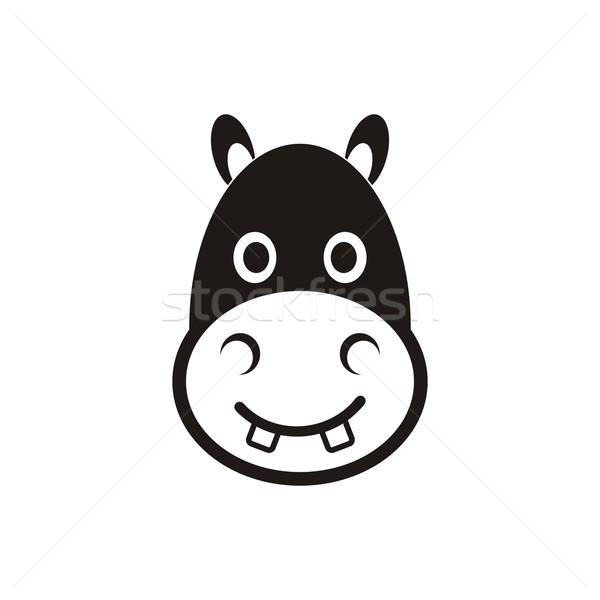カバ 頭 アイコン かわいい 黒 ベクトル ストックフォト © blumer1979