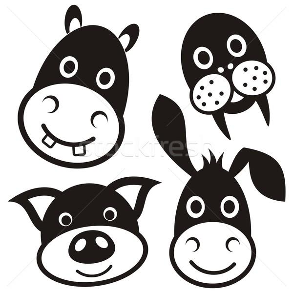 Aranyos rajzolt állatok fekete rajz disznó szamár Stock fotó © blumer1979