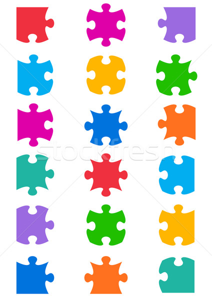 All possible shapes of jigsaw puzzle Stock photo © blumer1979