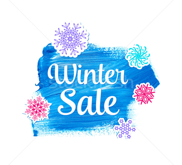 Winter sale lettering on blue stain Stock photo © blumer1979
