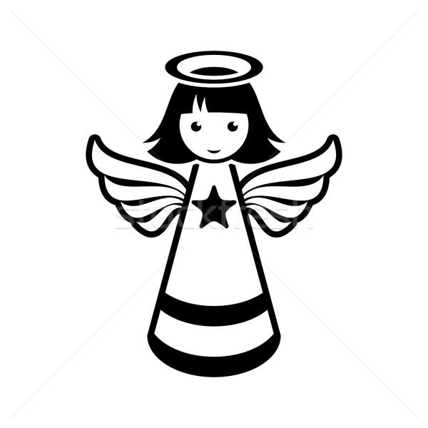 Eenvoudige zwarte vector christmas engel icon Stockfoto © blumer1979