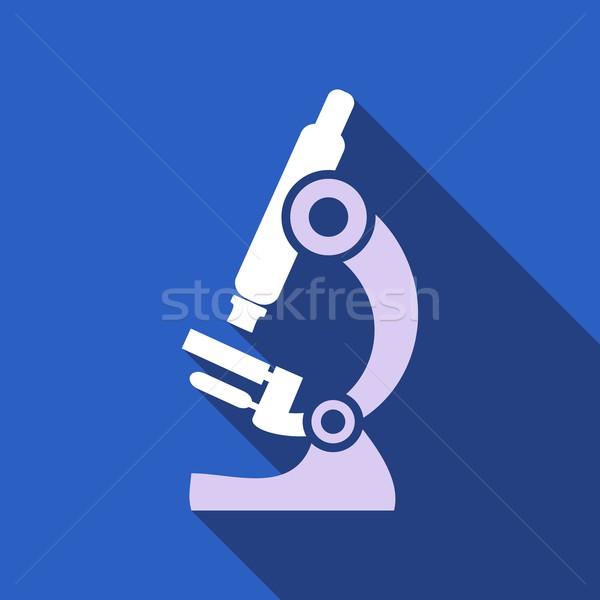 микроскоп белый вектора синий здоровья знак Сток-фото © blumer1979