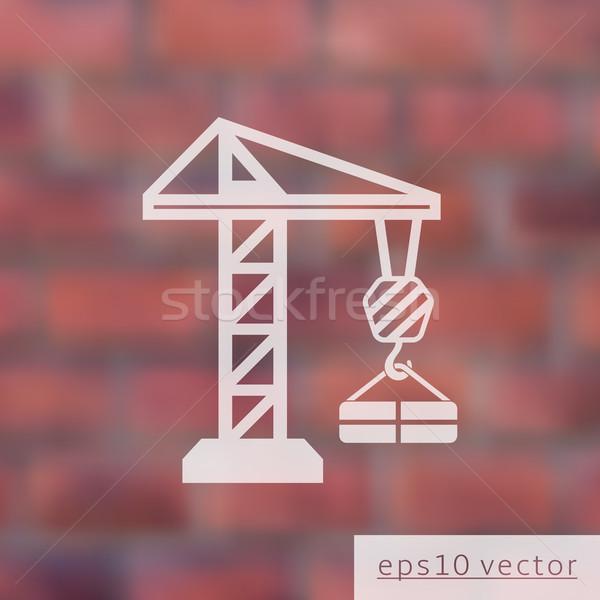 Crane on blurred brick wall Stock photo © blumer1979