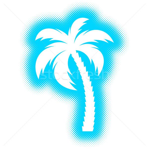 Vecteur palmier silhouette icône en demi-teinte design Photo stock © blumer1979