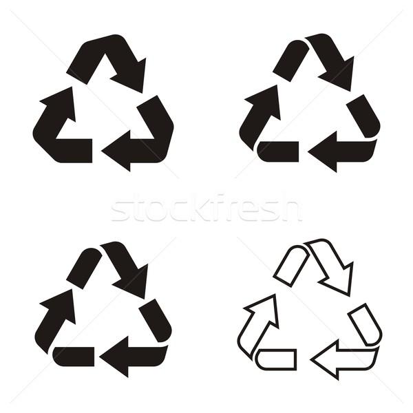 Recycler symbole icônes différent vecteur noir Photo stock © blumer1979