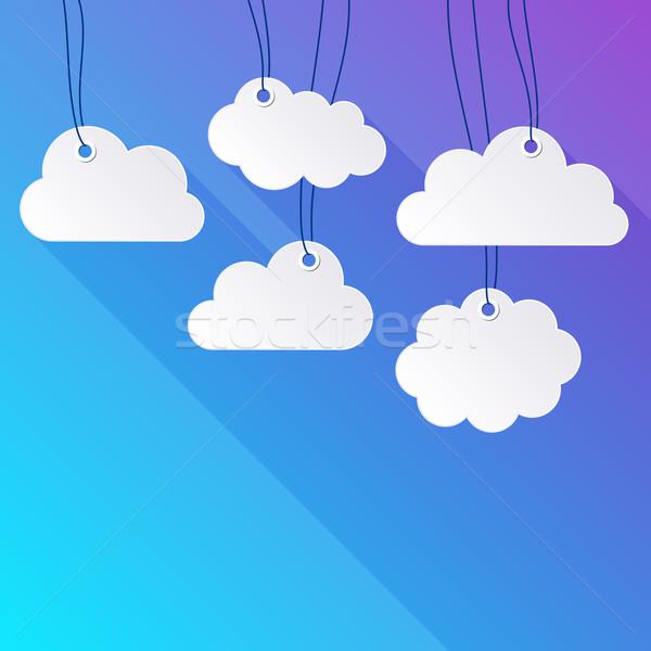 Akasztás papír felhők fehér háttér keret Stock fotó © blumer1979
