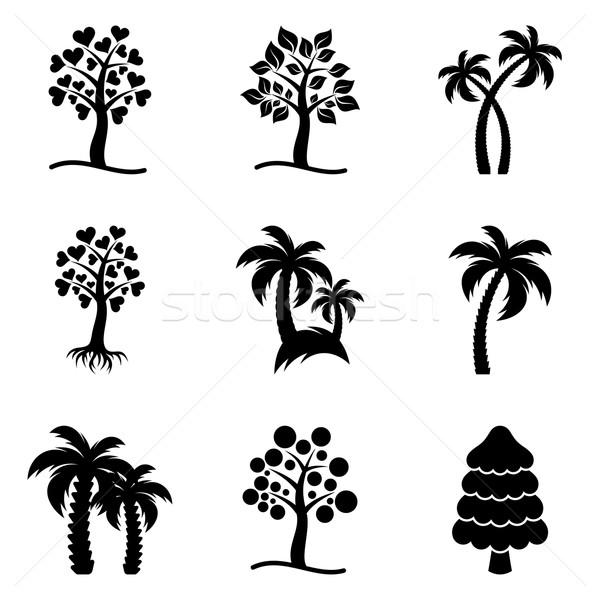 Vector árbol iconos colección negro resumen Foto stock © blumer1979