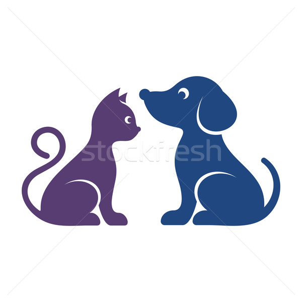 Cute vector cat and dog icons Stock photo © blumer1979