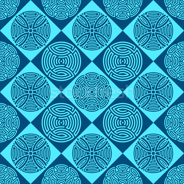 синий бесшовный декоративный шаблон красивой версия Сток-фото © blumer1979