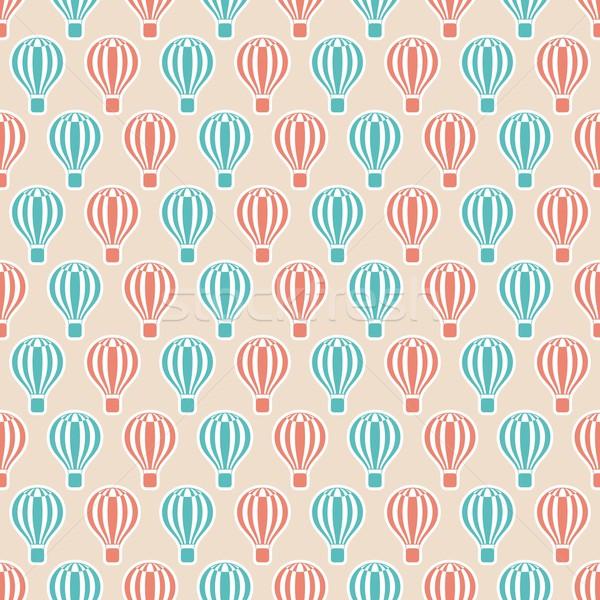 Stockfoto: Hot · lucht · ballonnen · naadloos · retro · patroon · kunst
