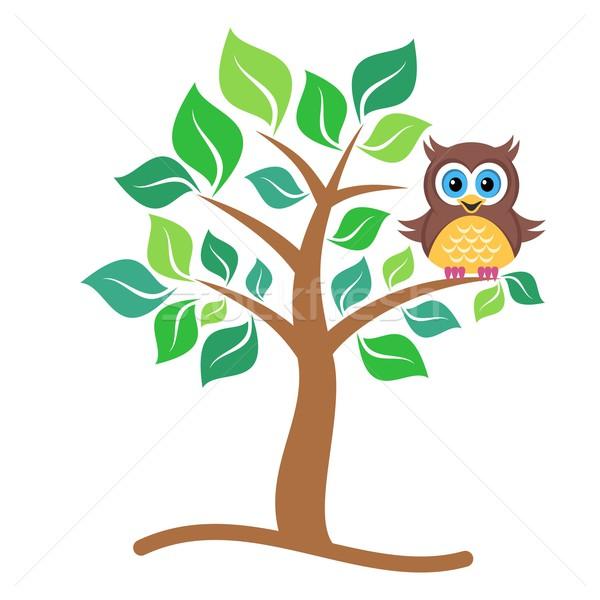 Stockfoto: Uil · boom · cute · vector · kleurrijk · vergadering