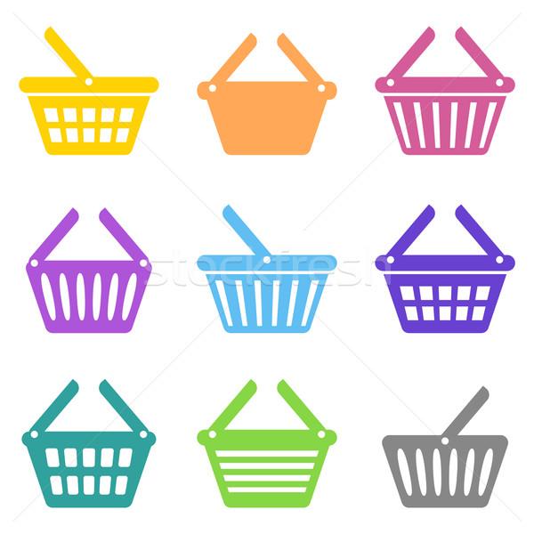Foto stock: Colorido · vetor · carrinho · de · compras · ícones · coleção · branco
