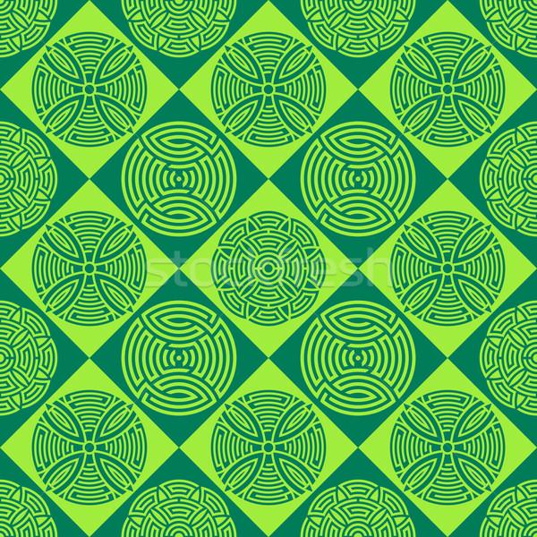 Green seamless ornamental pattern Stock photo © blumer1979