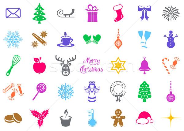 Foto stock: Colorido · vector · Navidad · silueta · signos · iconos