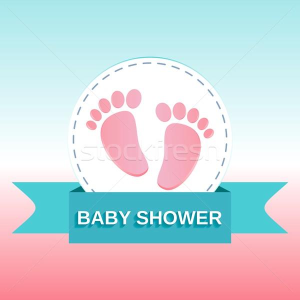 Bébé douche design pieds anniversaire Photo stock © blumer1979