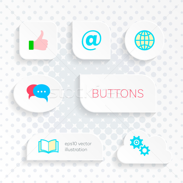 Vector white web buttons with simple icons Stock photo © blumer1979