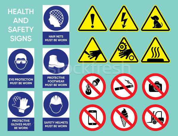 Health and safety signs collection Stock photo © blumer1979