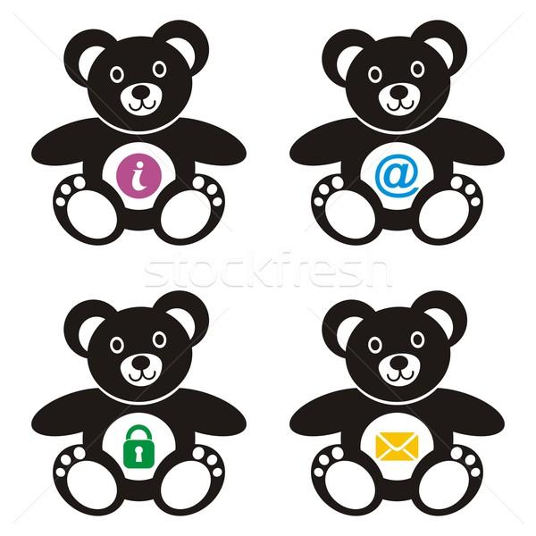 четыре Cute черный красочный веб-иконы Сток-фото © blumer1979