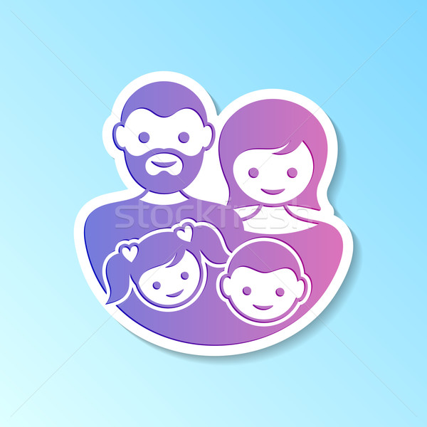 Family label with parents and children Stock photo © blumer1979