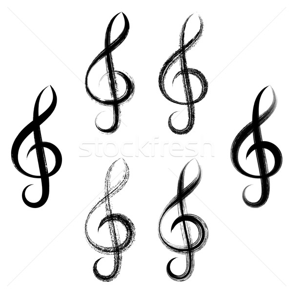 Stock photo: Treble clefs brush strokes design