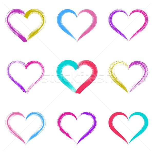 Colorful vector brush strokes hearts Stock photo © blumer1979