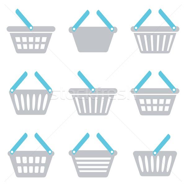 Bevásárlókosár ikon szürke kék ikonok gyűjtemény Stock fotó © blumer1979
