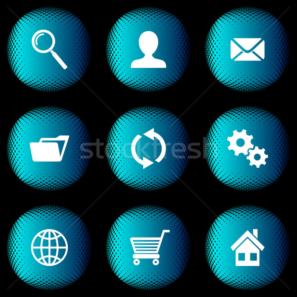 Halftone buttons with website icons Stock photo © blumer1979