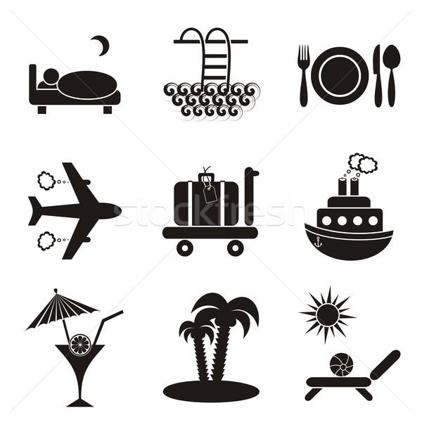 Alojamiento nueve negro iconos Foto stock © blumer1979
