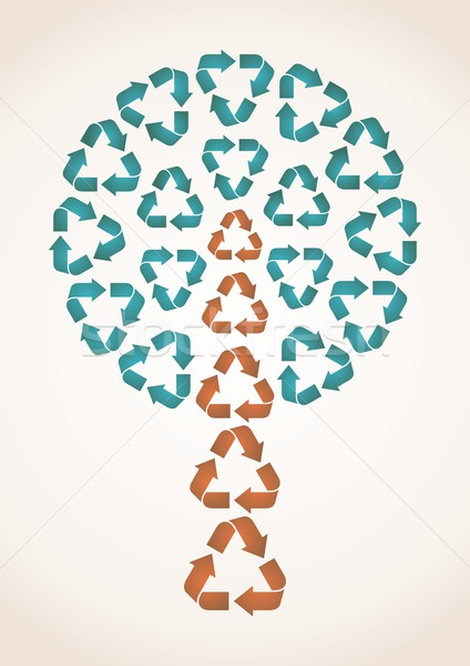 Сток-фото: аннотация · дерево · Recycle · синий · коричневый