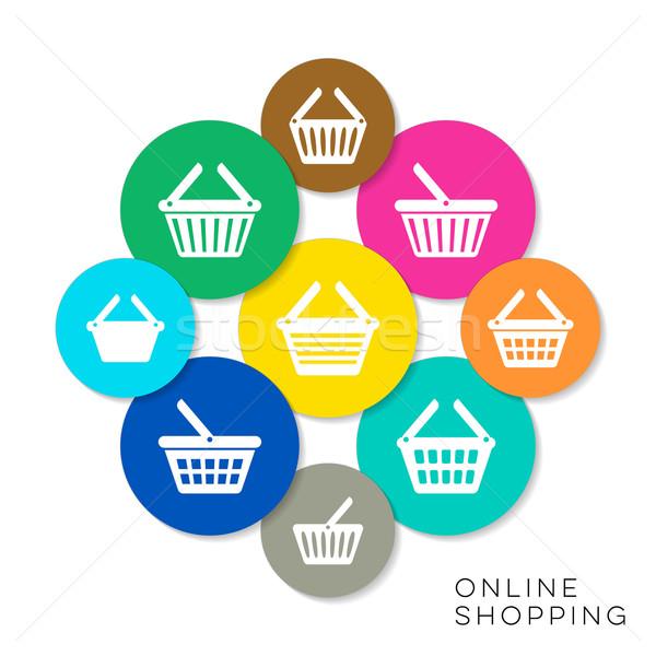 Vector online winkelen iconen moderne kleurrijk collectie Stockfoto © blumer1979