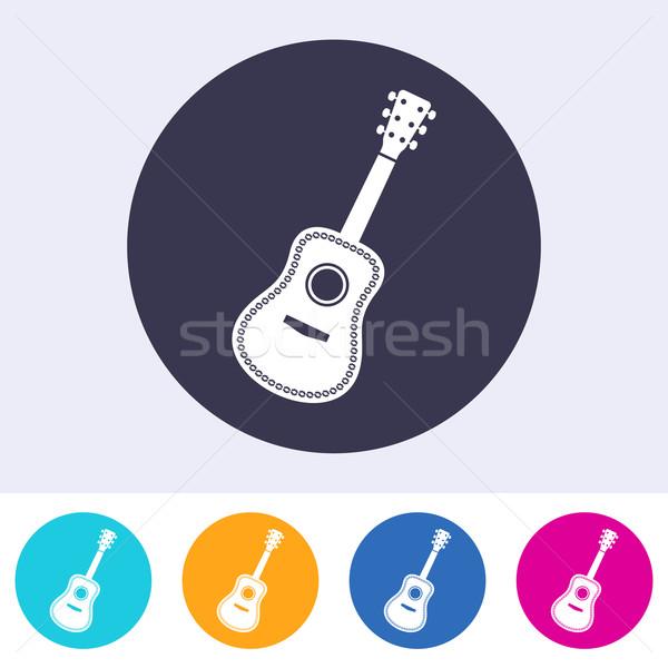 Vecteur guitare acoustique icône coloré boutons musique Photo stock © blumer1979