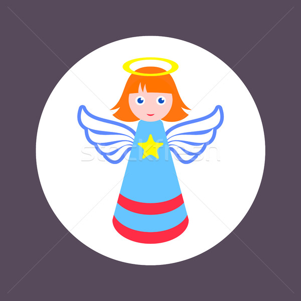 Colorful christmas simple vector angel icon Stock photo © blumer1979