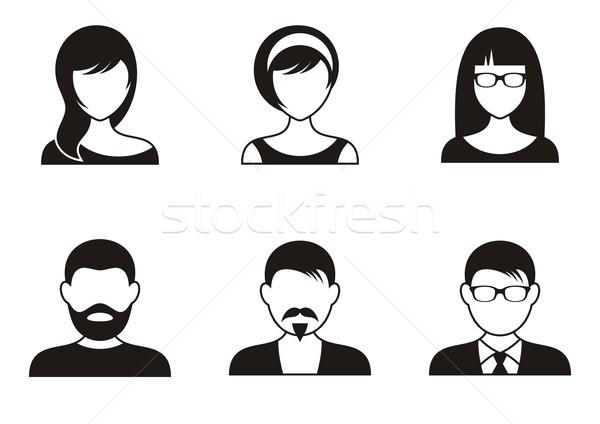Foto stock: Pessoas · ícones · homens · mulheres · preto · branco