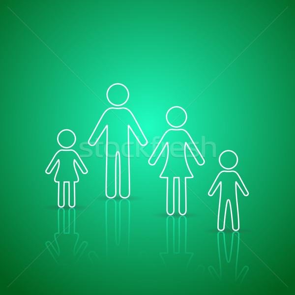 Aile simgeler beyaz yeşil eğim Stok fotoğraf © blumer1979