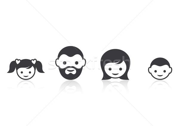 Familia cara iconos reflexión mujer nina Foto stock © blumer1979